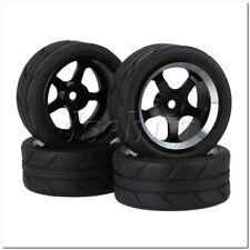 Black RC1:10 On Road Car Aluminum 5 Spoke Wheel Rims Arrow Pattern Rubber Tyres
