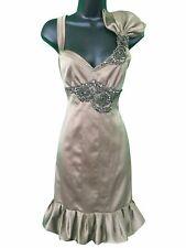 Karen Miller Satin Taupe Rhinestone Tank Dress US 8