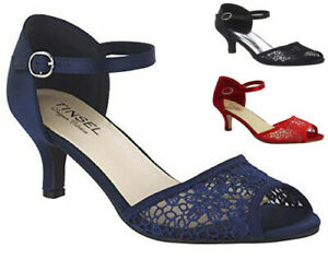 LADIES SATIN LACE MID HEEL PEEP TOE MARY JANE STRAPPY SHOES SANDALS SIZES 3-8
