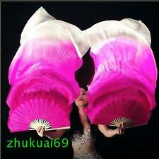 Free shipping 1 pair 1.5m 1.8m long belly dance 100%silk fan veil 6 colors
