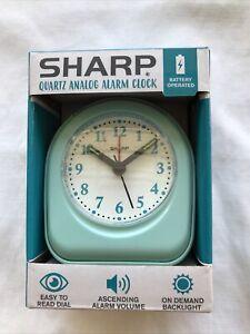Sharp Quartz Analog Alarm Clock/Battery Operated/Mint Green/Easy Read Dial/New*