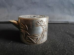 Antique Chinese white metal bamboo water dropper with markings