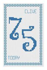 75th Anniversaire Bleu Kit de cartes de point de croix par florashell