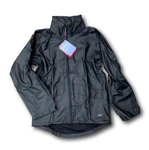 NWT Helly Hansen Voss Men's S Oversized Black Waterproof Rain Hooded Jacket