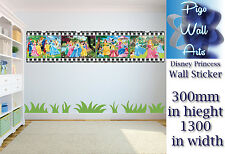 Disney Princess wall sticker Children's Bedroom wall Decal Mural Movie Stripe.