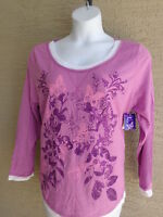 NWT Just  My Size 2X L/S Scoop Neck Glitzy Graphic Twofer Tee Top Orchid Multi