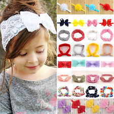 Baby Kid Flower Girl Hairband Rabbit Bow Turban Headband Headdress Headwrap