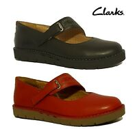 """CLARKS """"UN BRIARCREST"""" RED BLACK GENUINE LEATHER MARY JANES FLATS LADIES SHOES"""