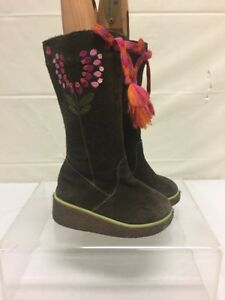 Baby Girls Brown Suede Tall Winter Boots Sz 9