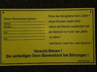 Schild f.Bienenstand,groß 30x20 cm Warnschild,m.Adressfeld,Imker,Imkerei,Bienen