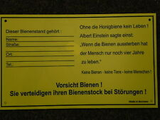 Schild f.Bienenstand,Warnschild,m.Adressfeld,Imker,Imkerei,Bienen,bee 25x15cm