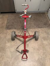 Very Rare Vintage Red Wilson FOLDING COLLAPSABLE GOLF CADDY PULL CART Stage Prop