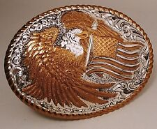 Crumrine Eagle & U.S. Flag Belt Buckle - New Old Stock With Box and Stickers