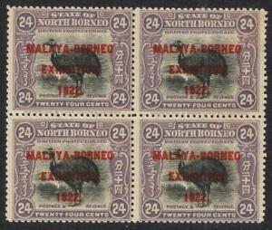 North Borneo 1922 Malaya Borneo Exh, 24c mauve block of 4 UHM SG270