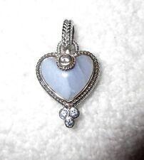 Judith Ripka Sterling Silver Blue Lace Agate  Heart Pendant Diamonique Gems