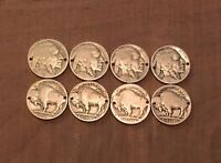 8 Holed Buffalo Indian Head Nickel Coins For Jewelry Or Bracelet-Vintage Antique
