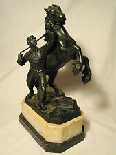 """Excellent Figurine Bronze Horse & Groom Figure Group 11"""" h Statue late 19th c"""