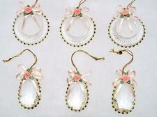 6 VICTORIAN ACRYLIC CHRISTMAS ORNAMENTS W/PINK PORCELAIN ROSES~WEDDING~$24~SALE!