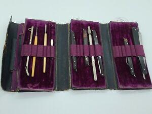 1800's Maison L Mathieu France Victorian Pocket Medical Doctor Surgical Tool Set