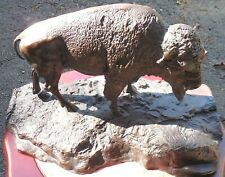 "#3 BUFFALO IN FRENCH FAUX BRONZE VINTAGE SCULPTURE 15 X 9"", UNSIGNED ESTATE ITEM"