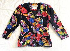 Vintage Richard Warren Saks Avenue blazer Silk Jacket M Medium 6 Black Floral