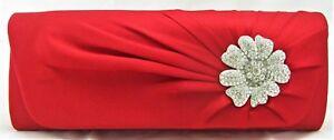 High quality satin clutch bag dressy evening bridal prom crystal brooch handbag
