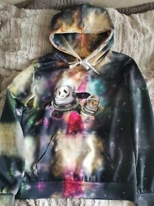 Retro Psychedelic Galaxy Space Print Hoodie Jumper Cat Panda Alternative