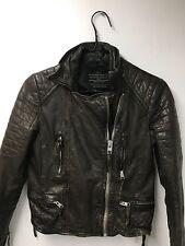 All Saints Biker Brown/Black Leather Jacket , sz 4