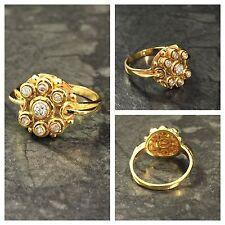 Extravaganter antiker Brillantring 585er Gold 7 Brillanten 0,23 ct Goldring Ring