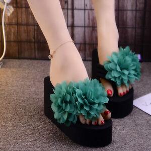 Women Wedge High Heels Flower Decor Platform Heel Sandals Slip On Slippers Shoes