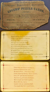"""Never-Before-Seen c. 1885 """"Mind Reading"""" Game LOVERS' PUZZLE CARDS – ROBERT GAIR"""