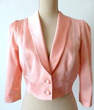 REVIEW Women's Jacket Pink Crop Bolero Size 10 US 6