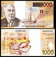 BELGIUM 1000 1,000 FRANCS ND 1997 P 150 AUNC ABOUT UNC