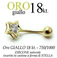 Piercing ombelico belly ORO GIALLO 18kt. STELLA con zircone BRILLANTE GOLD 18kt.