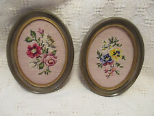Vintage Set of Two Floral Needlepoint Pictures in Oval Frames