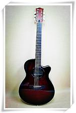 Caraya C-836TRDS Round-Back Guitar Tiger Flame Dark Claret Gig Bag Tuner Strings