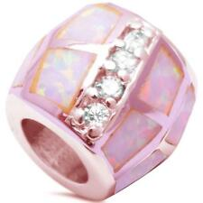 Trendy! Rosegold Plated Pink Opal CZ Slide Charm .925 Sterling Silver Pendant