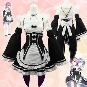 Anime Re:Zero kara Hajimeru Isekai Seikatsu Ram Rem Maid Dress Cosplay Costume