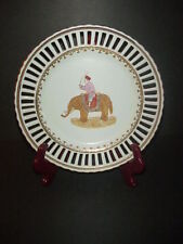 Antique Beehive Mark Reticulated Plate Elephant Hand Painted