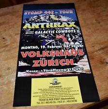Anthrax galactic cowboys Original Swiss Concert Poster 1996 Zurich