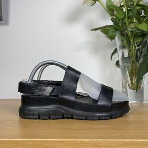 Womens COLE HAAN ZEROGRAND Platform Leather Slide Fisherman Sandal Black 9B/39.5