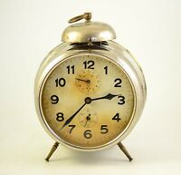 Antique 1920s  MECHANICAL Alarm clock Germany Vintage old desk table