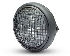 """Motorbike LED Projector Headlight with Mesh Grill 7.7"""" Scrambler Project SHALLOW"""