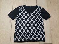 Brooks Brothers Womens Silk Cotton Blend Medium Top Black White Diamond Knit A2