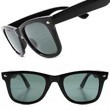 Classic Retro Old Fashion Womens Mens Black Glass Lens Horn Rimmed Sunglasses