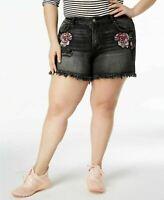 WILLIAM RAST  Plus Size Embroidered High-Rise Denim Shorts,