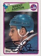 Autographed 1988 - 1989 Topps Brent Ashton #128 Hockey Card Winnipeg Jets