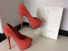 Topshop Ladies High Heels, Peep Toe, Wedge, Uk 5 Eu38, Coral Nubuck, Vgc