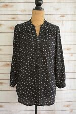 Halogen - BLACK ivory V-PRINT geometric long sleeve partial button blouse size S