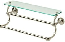 Delta 18 In. Glass Shelf Curved Double Towel Bar Spot Resistant Brushed Nickel
